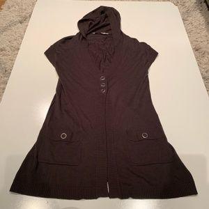 Athleta brown hooded cap sleeve button cardigan S